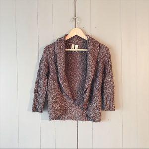 🌙 Buckle Shawl Collar Short Knit Cardigan Sweater